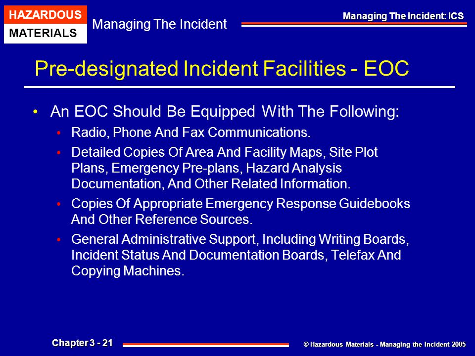 Pre-designated Incident Facilities - EOC