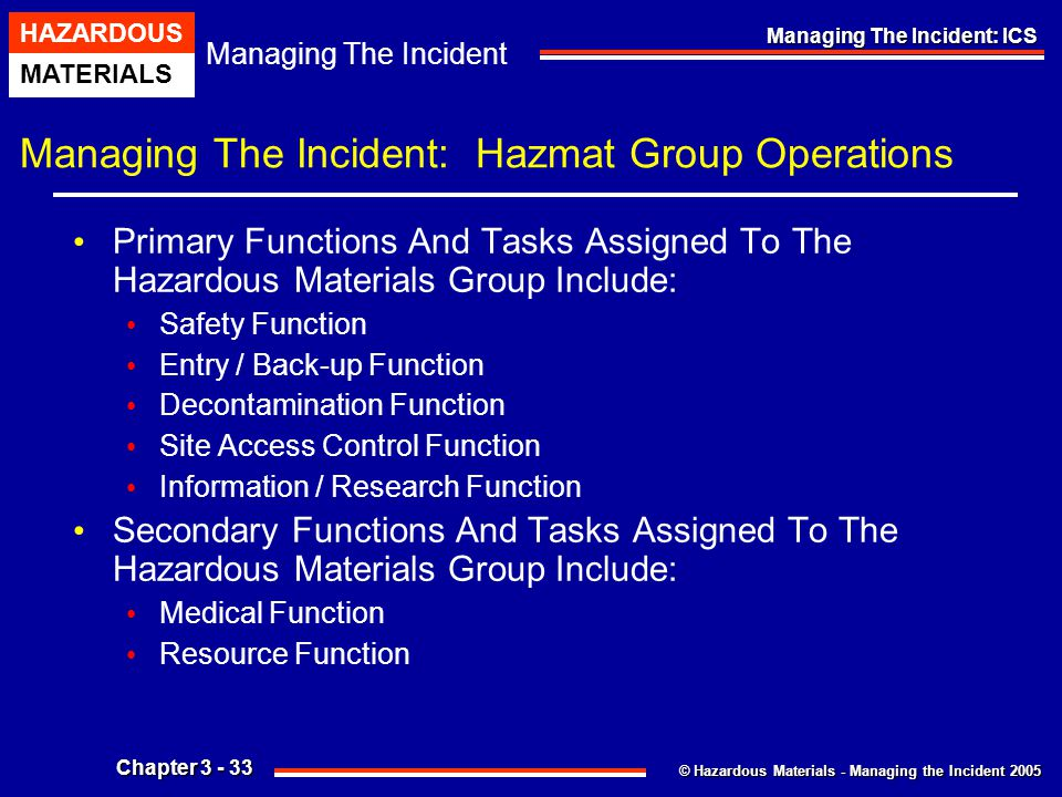 Managing The Incident: Hazmat Group Operations