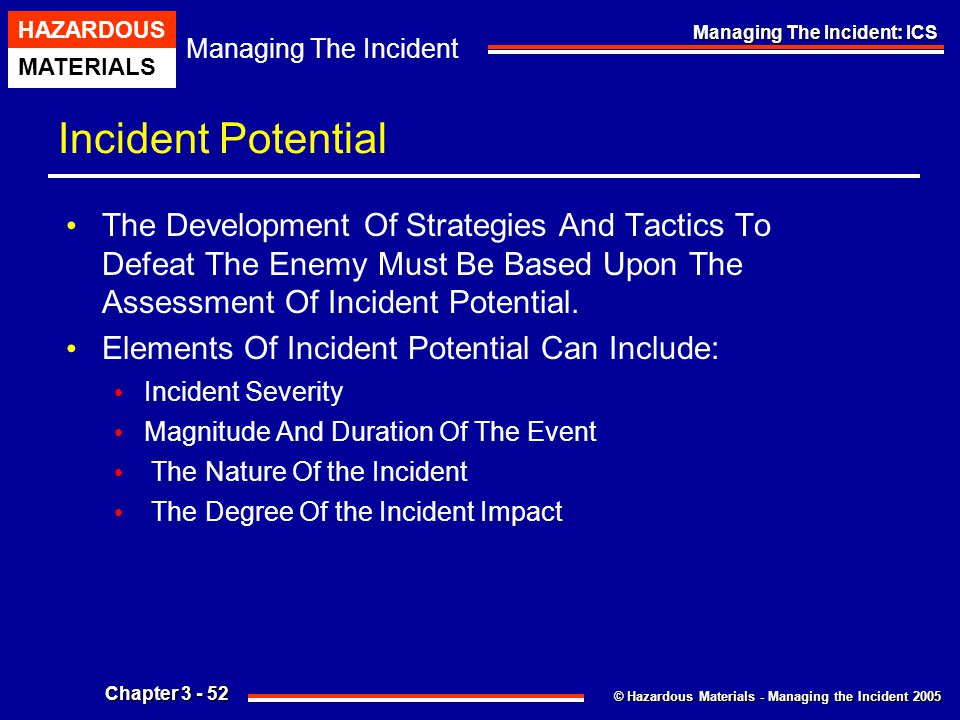 Incident Potential The Development Of Strategies And Tactics To Defeat The Enemy Must Be Based Upon The Assessment Of Incident Potential.
