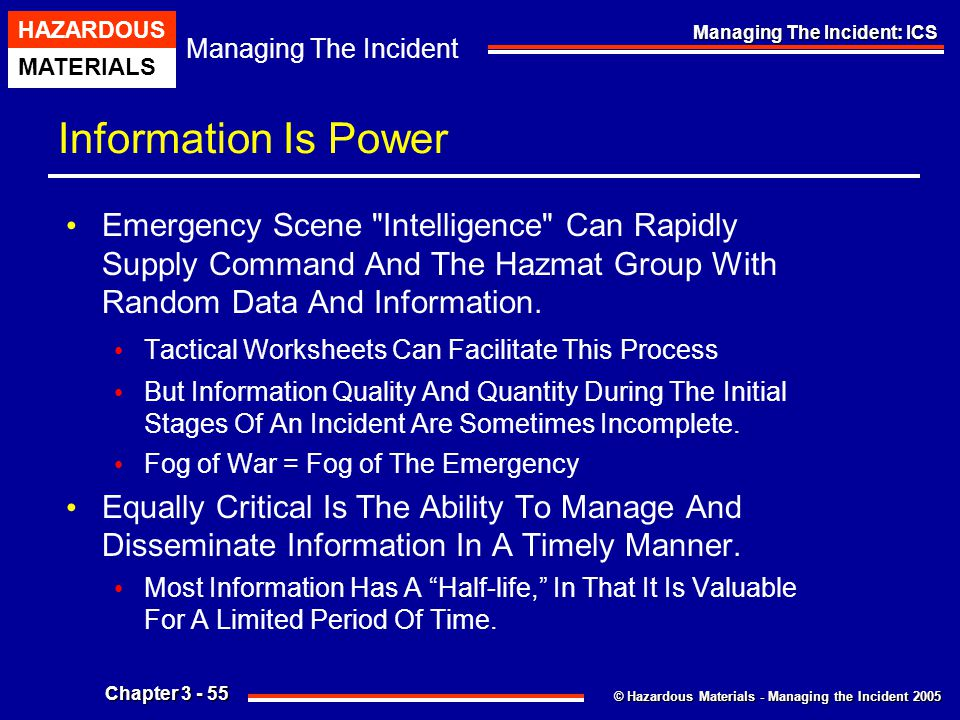 Information Is Power Emergency Scene Intelligence Can Rapidly Supply Command And The Hazmat Group With Random Data And Information.