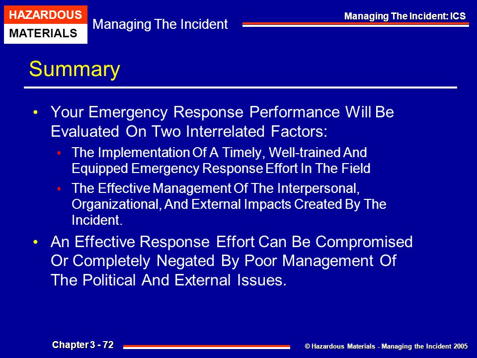 Summary Your Emergency Response Performance Will Be Evaluated On Two Interrelated Factors: