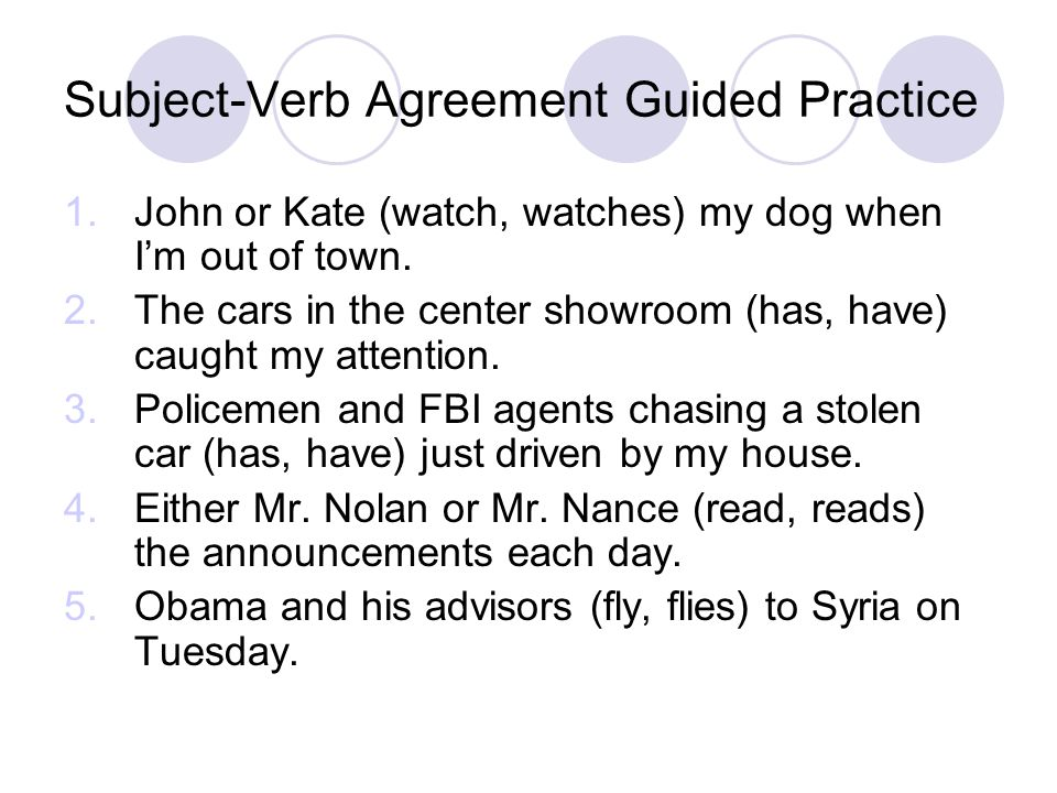Subject-Verb Agreement Guided Practice