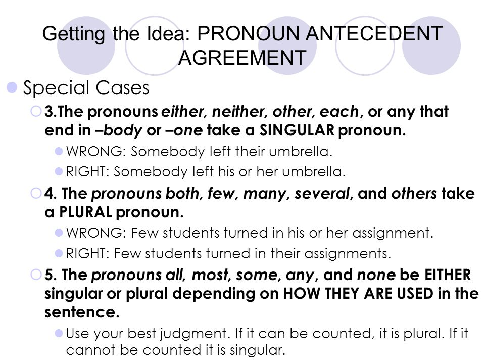 Getting the Idea: PRONOUN ANTECEDENT AGREEMENT