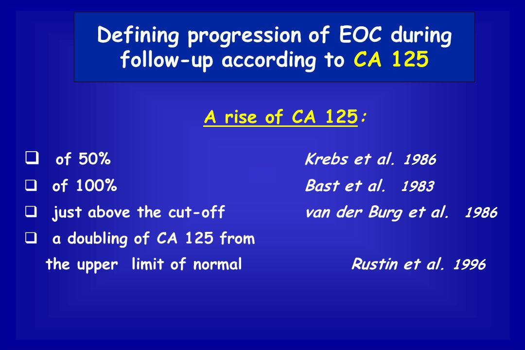 Defining progression of EOC during follow-up according to CA 125