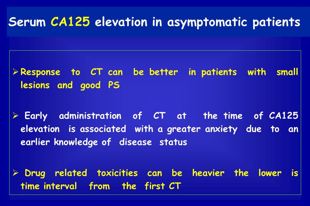 Serum CA125 elevation in asymptomatic patients