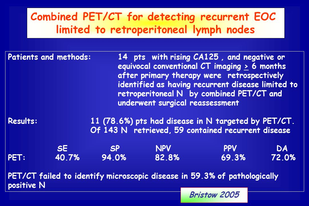 Combined PET/CT for detecting recurrent EOC
