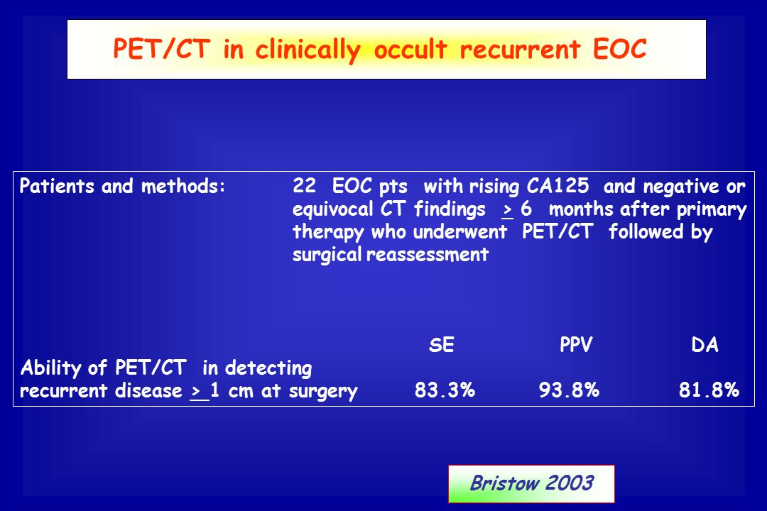PET/CT in clinically occult recurrent EOC