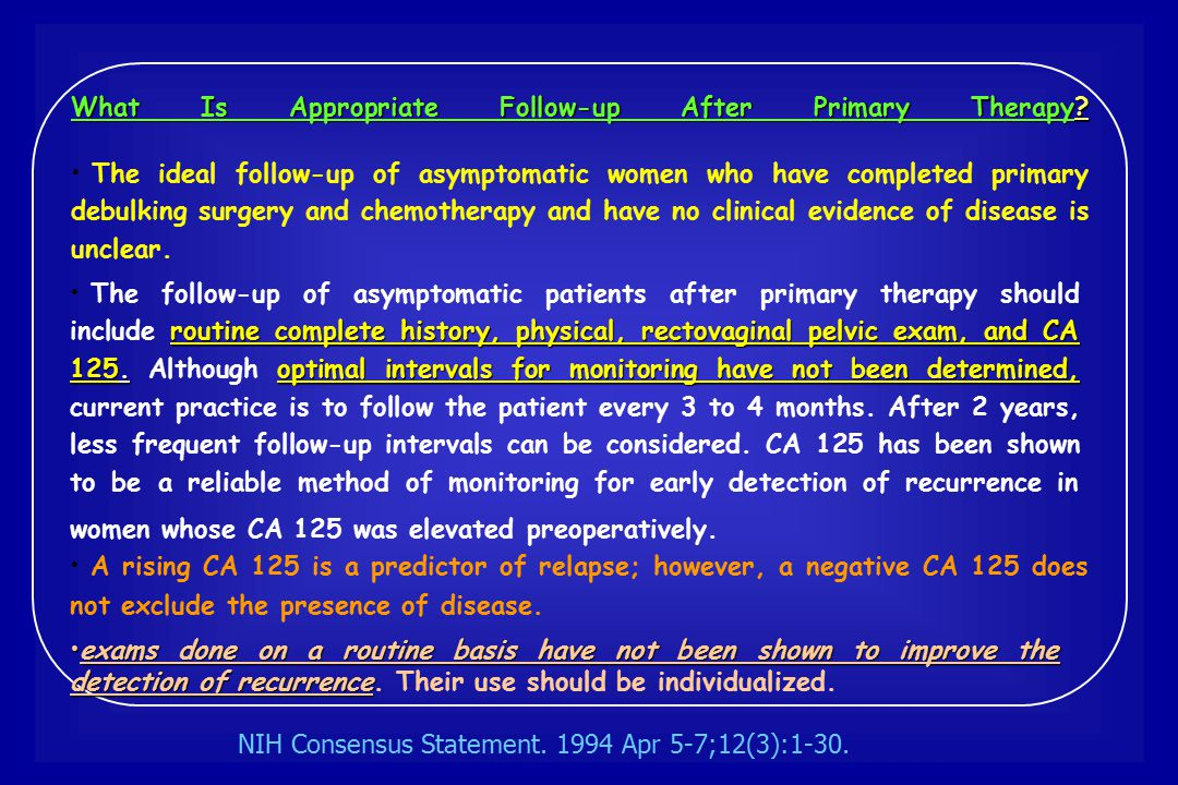 What Is Appropriate Follow-up After Primary Therapy