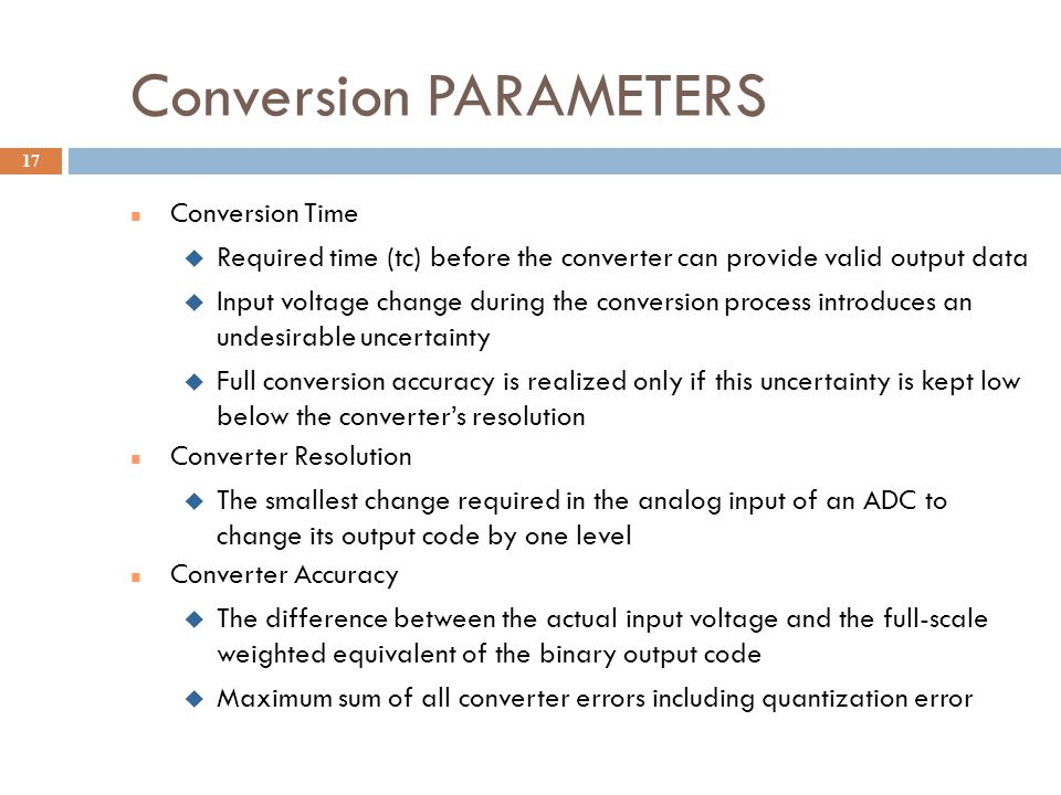 Conversion PARAMETERS