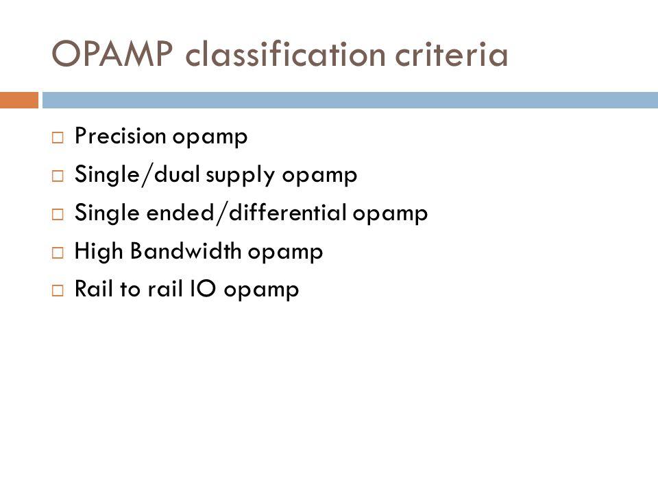 OPAMP classification criteria