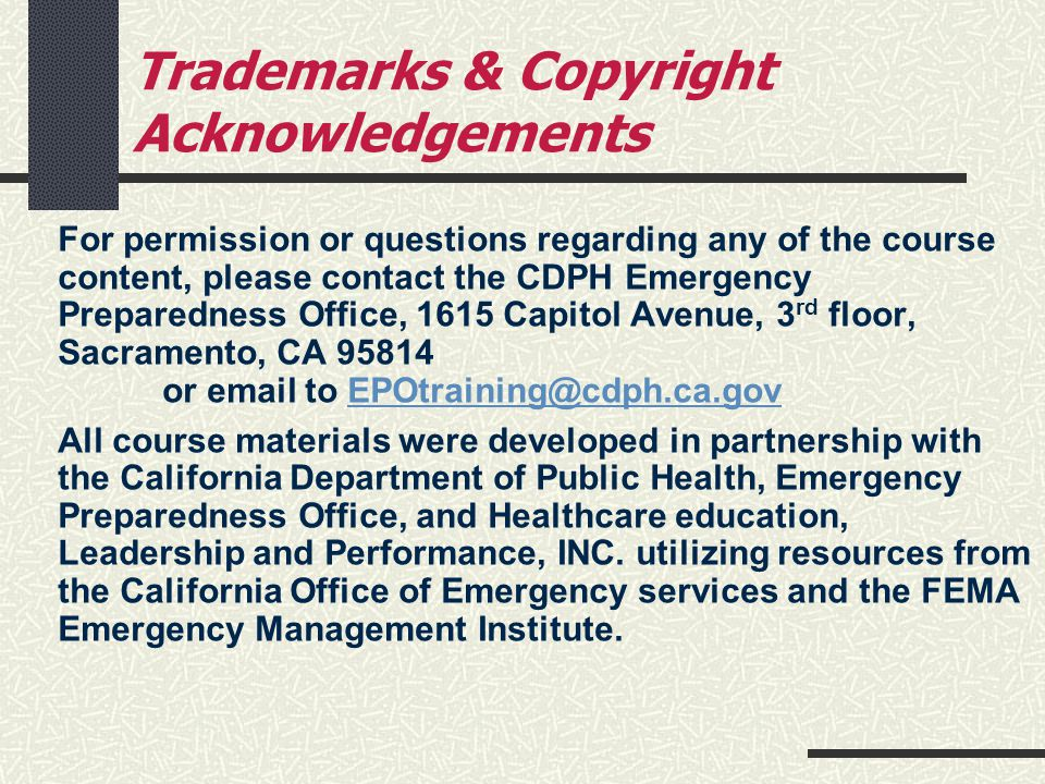 Trademarks & Copyright Acknowledgements
