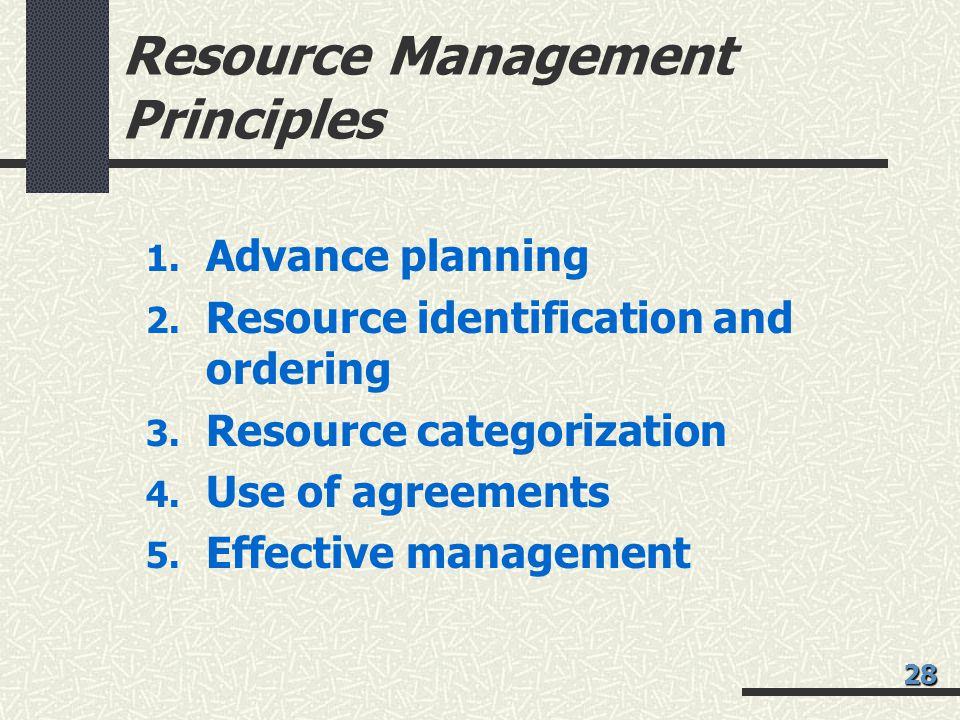 Resource Management Principles