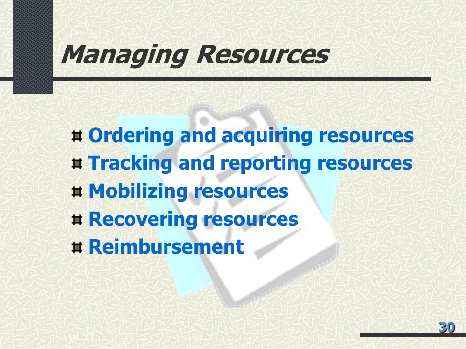 Managing Resources Ordering and acquiring resources
