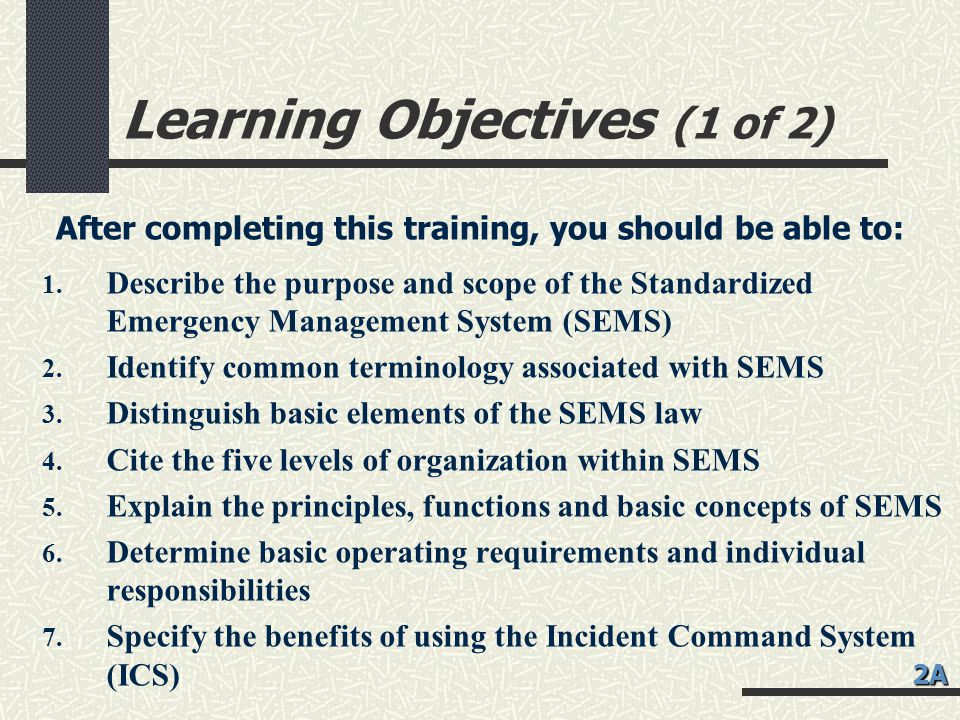 Learning Objectives (1 of 2)