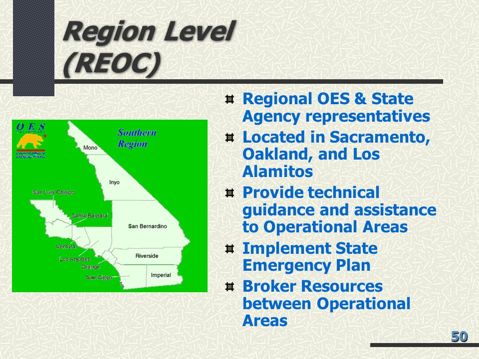 Region Level (REOC) Regional OES & State Agency representatives