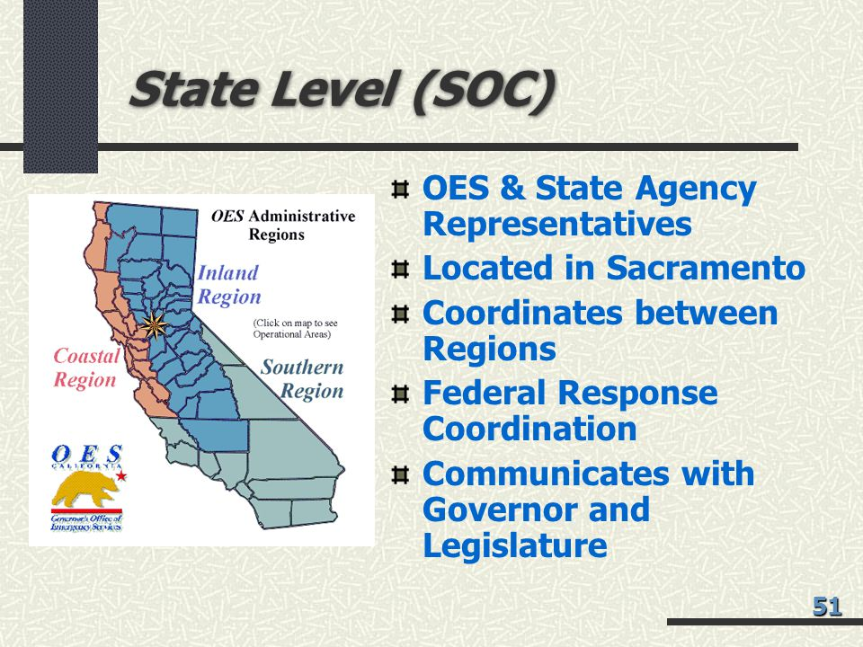 State Level (SOC) OES & State Agency Representatives