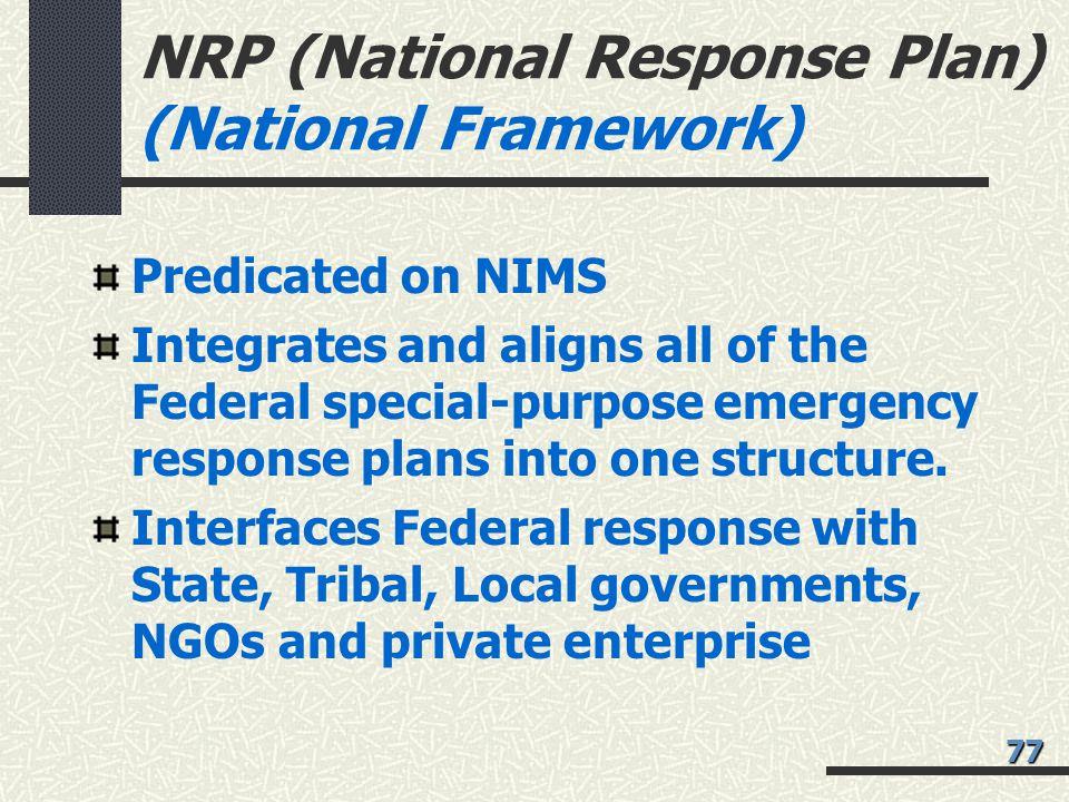 NRP (National Response Plan) (National Framework)