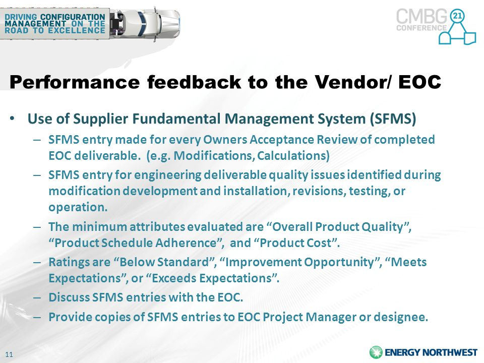 Performance feedback to the Vendor/ EOC