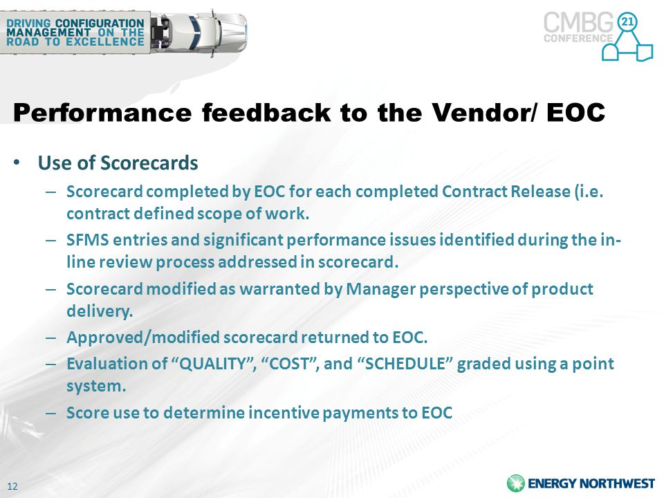 Performance feedback to the Vendor/ EOC