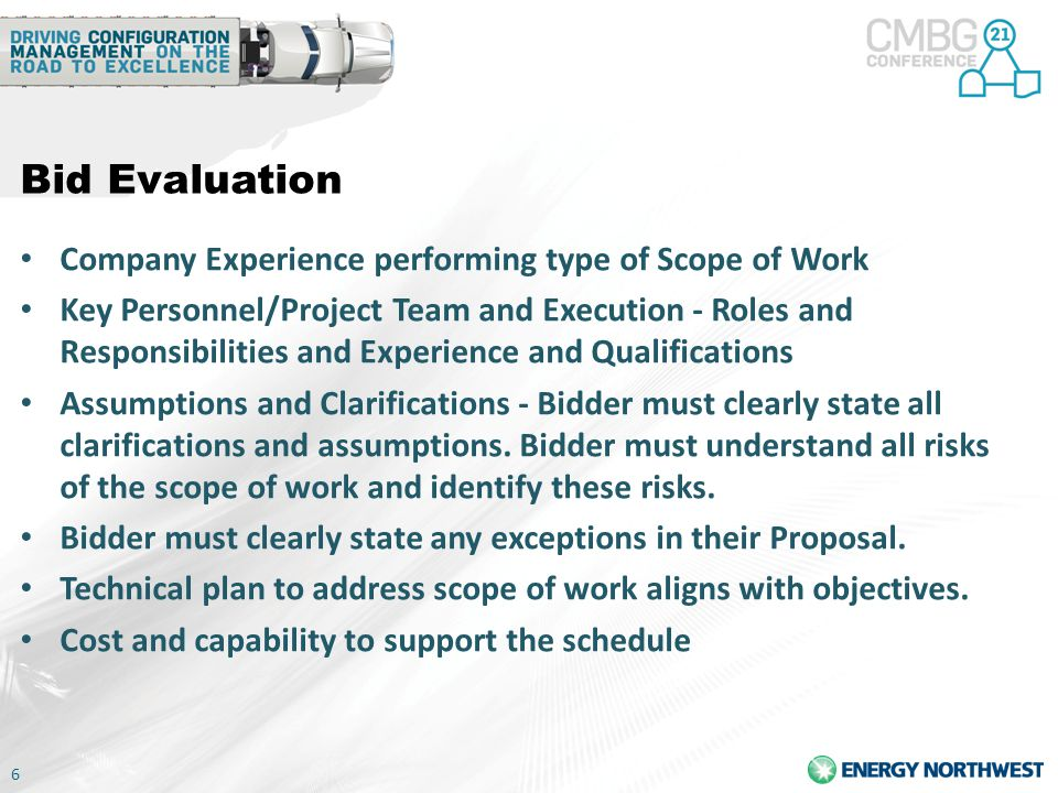 Bid Evaluation Company Experience performing type of Scope of Work