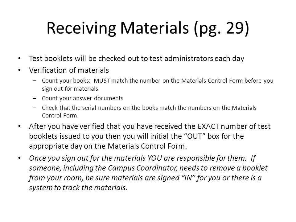 Receiving Materials (pg. 29)