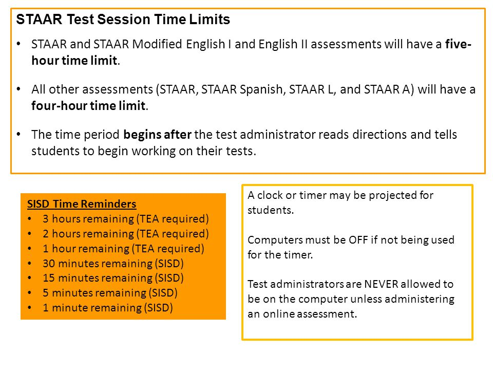 STAAR Test Session Time Limits
