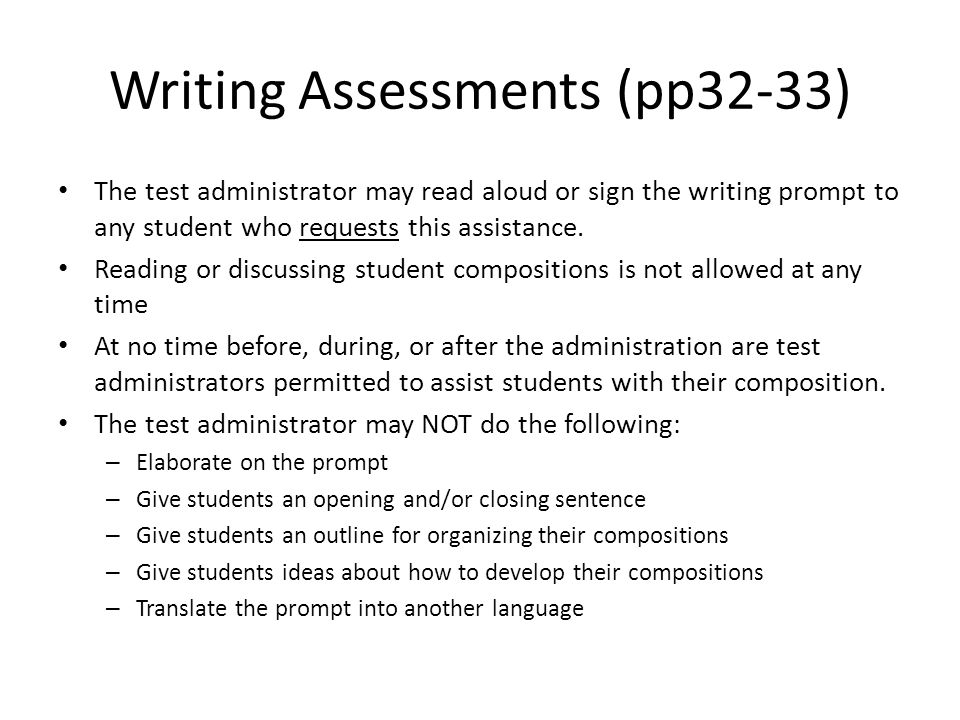 Writing Assessments (pp32-33)