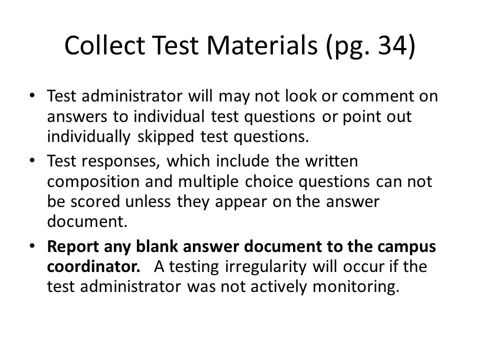 Collect Test Materials (pg. 34)