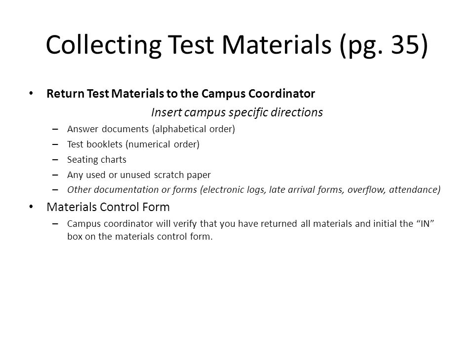 Collecting Test Materials (pg. 35)