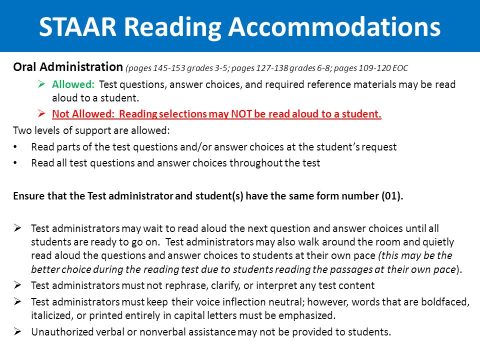 STAAR Reading Accommodations
