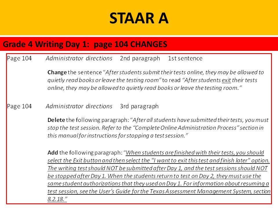 STAAR A Grade 4 Writing Day 1: page 104 CHANGES