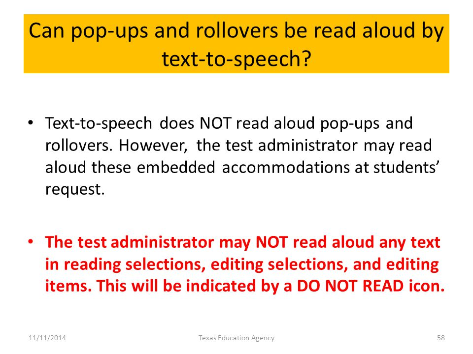 Can pop-ups and rollovers be read aloud by text-to-speech