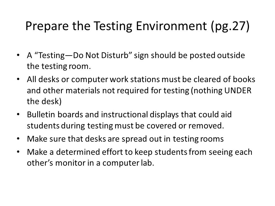 Prepare the Testing Environment (pg.27)