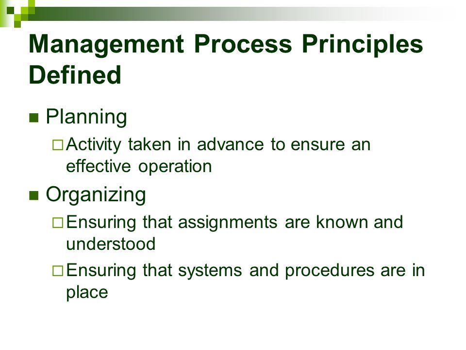 Management Process Principles Defined