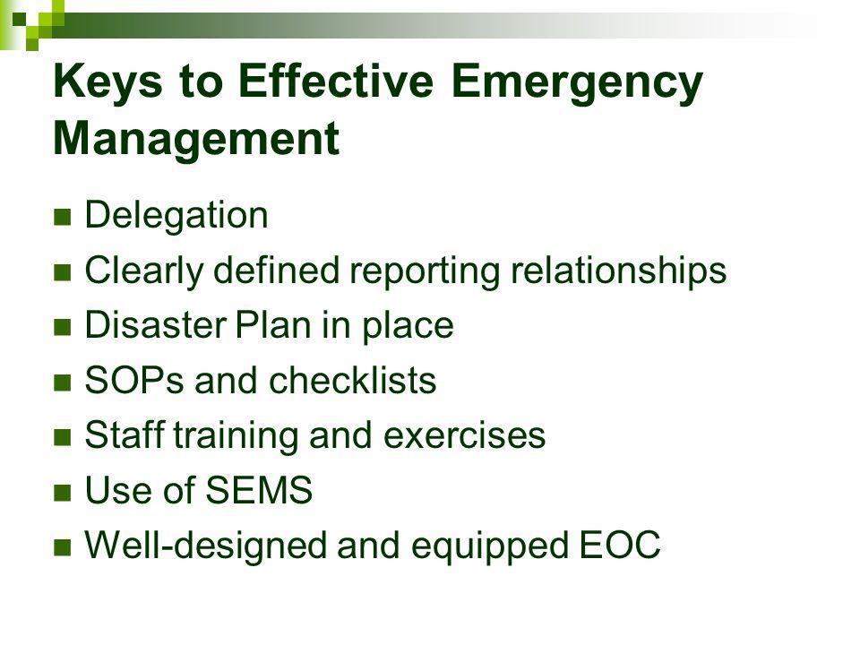 Keys to Effective Emergency Management