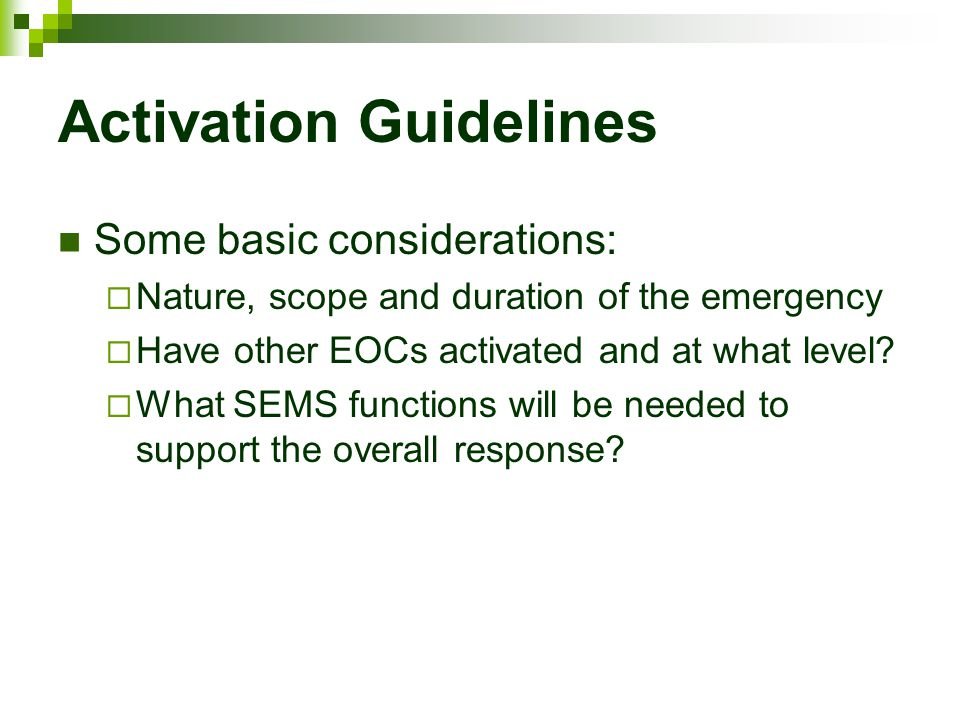 Activation Guidelines