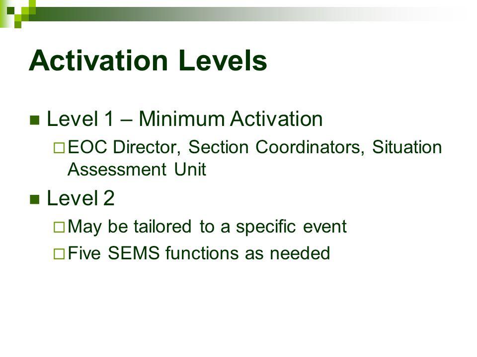 Activation Levels Level 1 – Minimum Activation Level 2