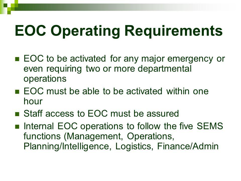 EOC Operating Requirements