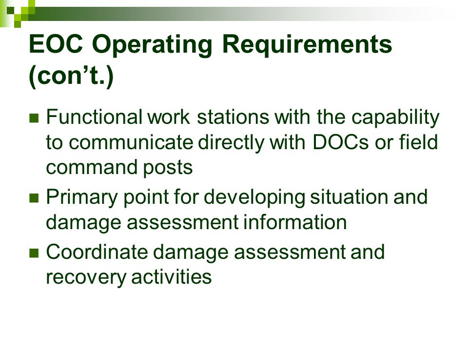 EOC Operating Requirements (con't.)