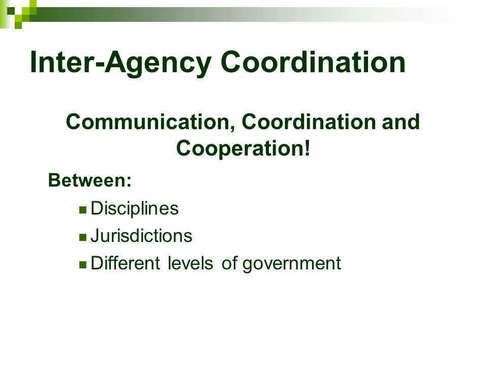 Inter-Agency Coordination