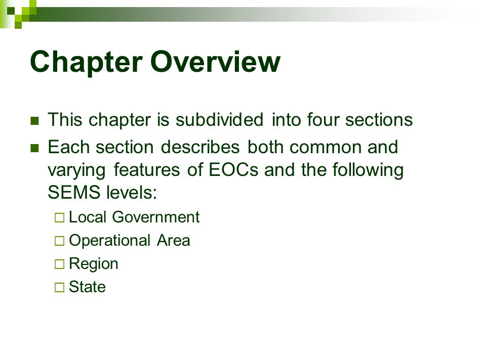 Chapter Overview This chapter is subdivided into four sections