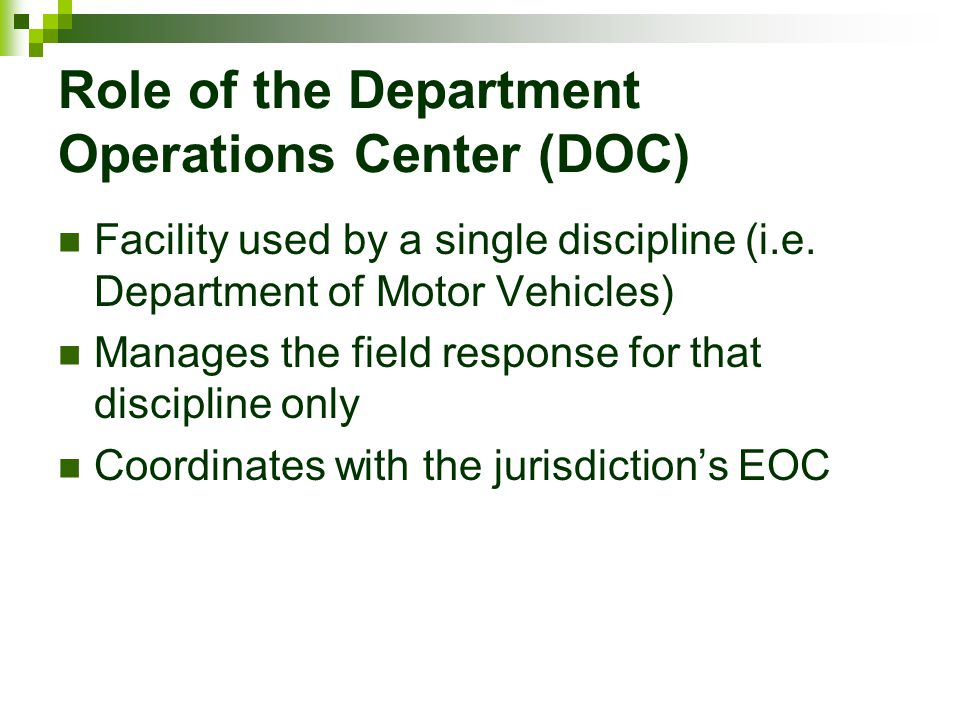 Role of the Department Operations Center (DOC)