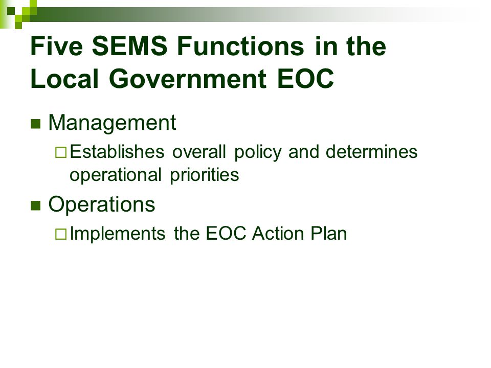 Five SEMS Functions in the Local Government EOC