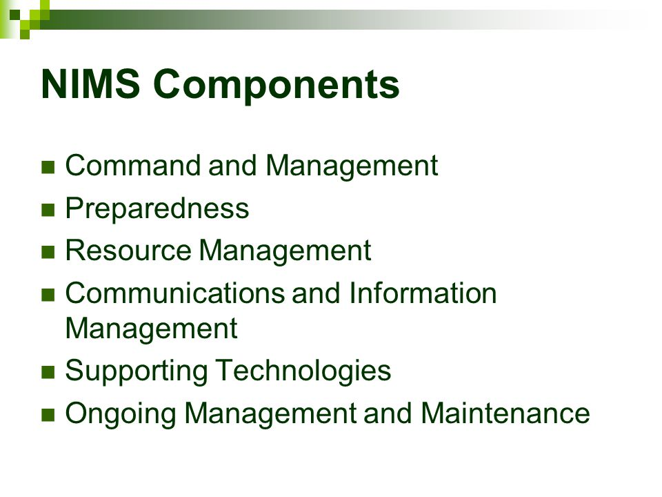 NIMS Components Command and Management Preparedness