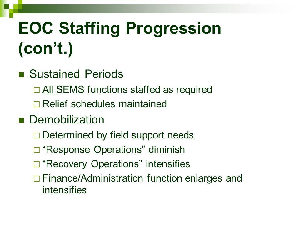 EOC Staffing Progression (con't.)