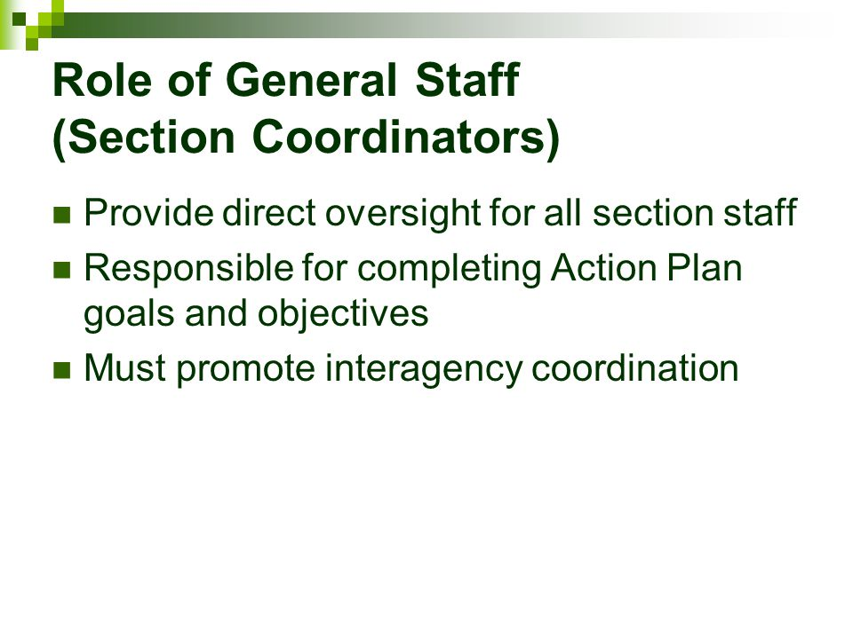 Role of General Staff (Section Coordinators)