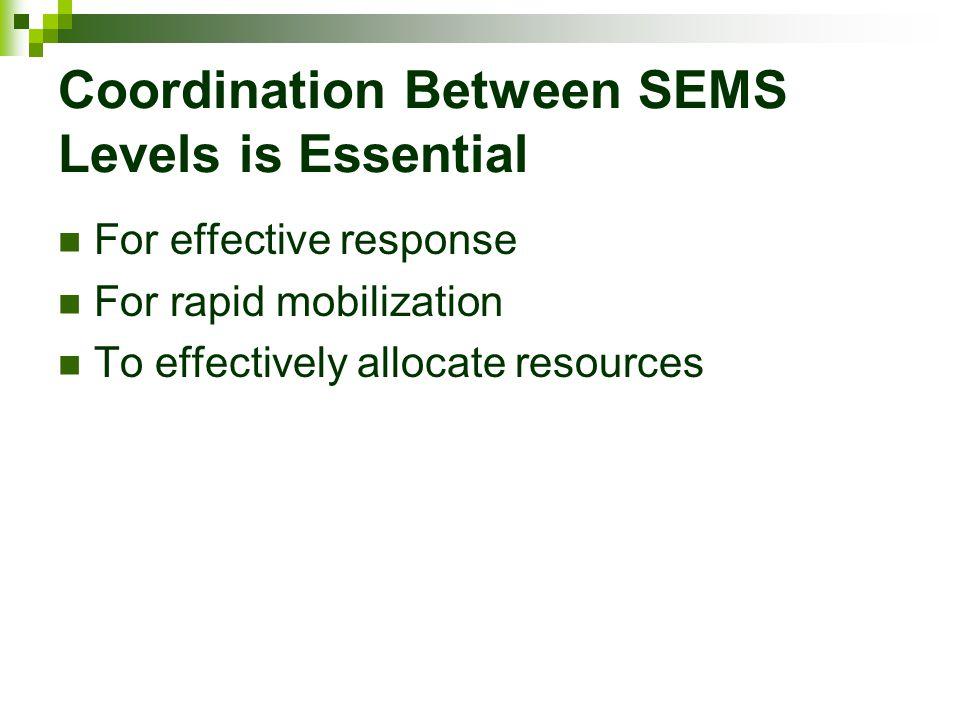 Coordination Between SEMS Levels is Essential
