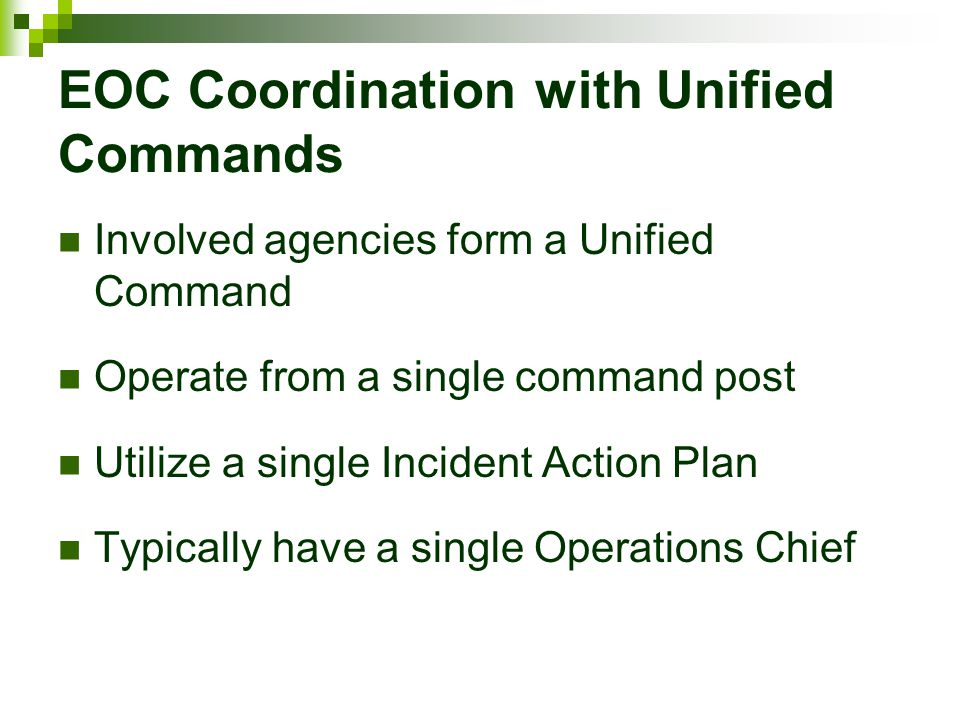 EOC Coordination with Unified Commands