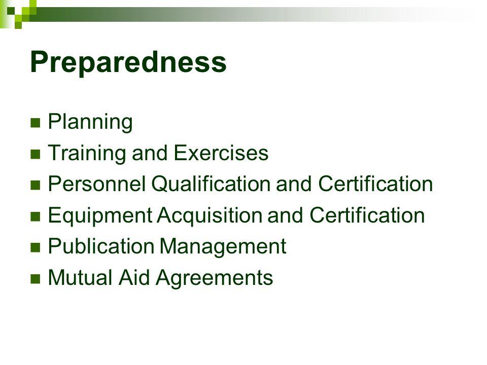 Preparedness Planning Training and Exercises