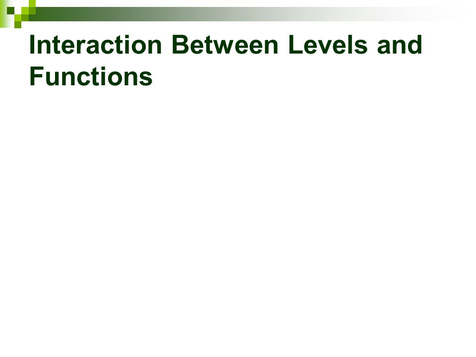 Interaction Between Levels and Functions